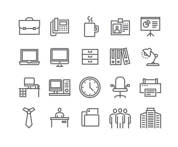 ilustrações, clipart, desenhos animados e ícones de curso de linha simples editável vetoriais conjunto de ícones, ícone básico de negócios, reunião de negócios, trabalho, prédio de escritórios, recepção e more.48x48 pixel perfeito. - carteira