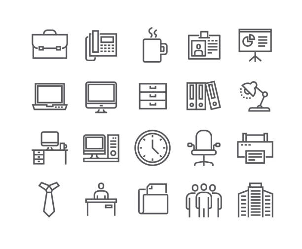 editable simple line stroke vector icon set,business basic icon,business meeting, workplace, office building, reception desk and more.48x48 pixel perfect. - office job stock illustrations, clip art, cartoons, & icons