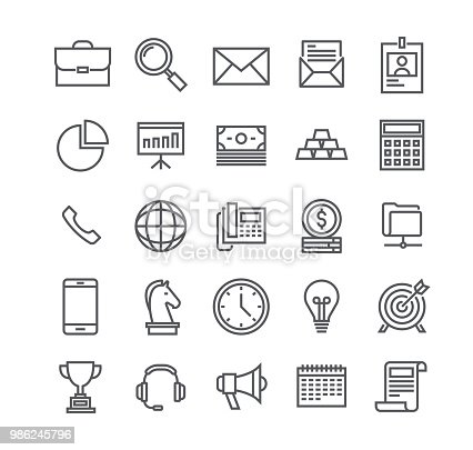 Editable simple line stroke vector icon set,Business basic objects, profiles, presentations, support, management, marketing, and more.48x48 Pixel Perfect.