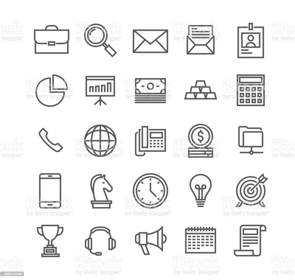 Trazo de línea simple editable vector icon set, negocios objetos básicos, perfiles, presentaciones, apoyo, gestión, marketing y more.48x48 Pixel Perfect. - ilustración de arte vectorial