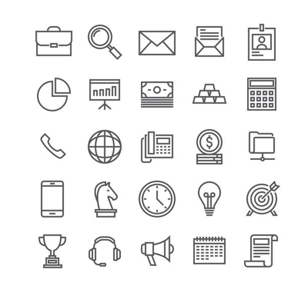 editable simple line stroke vector icon set,business basic objects, profiles, presentations, support, management, marketing, and more.48x48 pixel perfect. - thin line icons stock illustrations, clip art, cartoons, & icons