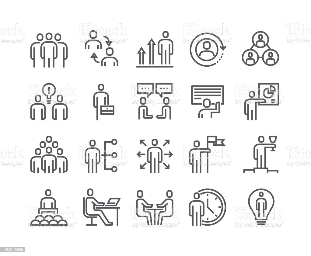 Editable simple line stroke vector icon set,Business Office Related People Meeting, Winner, Teamwork, Presentation, Conversation, Employment.48x48 Pixel Perfect. - Royalty-free Adult stock vector