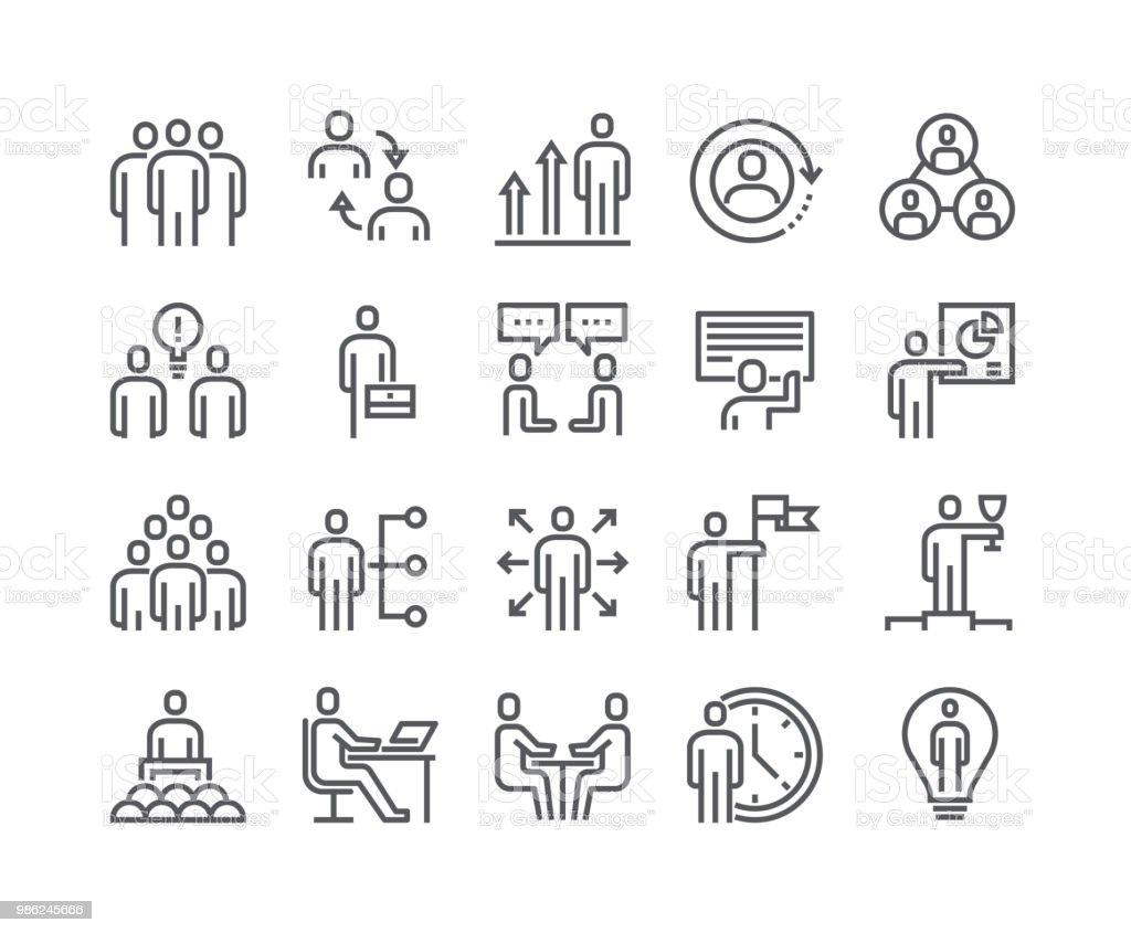 Línea simple editable movimiento vector conjunto de iconos, reunión de personas relacionados con negocios oficina, ganador, trabajo en equipo, presentación, conversación, Employment.48x48 Pixel Perfect. - ilustración de arte vectorial