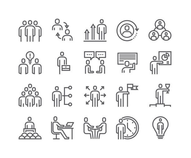 editable simple line stroke vector icon set,business office related people meeting, winner, teamwork, presentation, conversation, employment.48x48 pixel perfect. - thin line icons stock illustrations, clip art, cartoons, & icons
