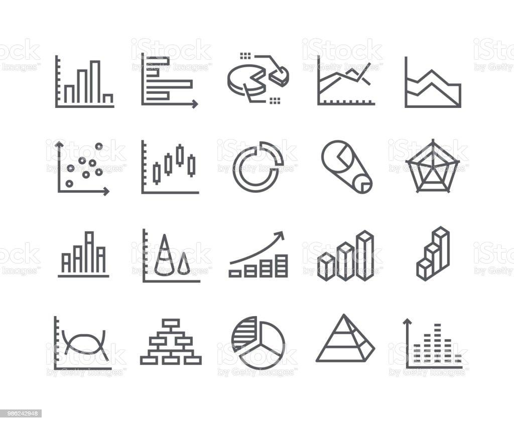 Ligne simple modifiable AVC icon set vector, graphiques et diagrammes, graphique 3D, point graphique, barre de croissance et plus encore. 48 x 48 pixels parfait. - Illustration vectorielle