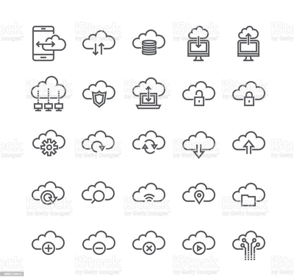 Ligne simple modifiable AVC icon set vector, Cloud Internet système informatique, partage de données, transfert, réglages, synchronisation, sécurité, Server.48x48 Pixel Perfect. - Illustration vectorielle