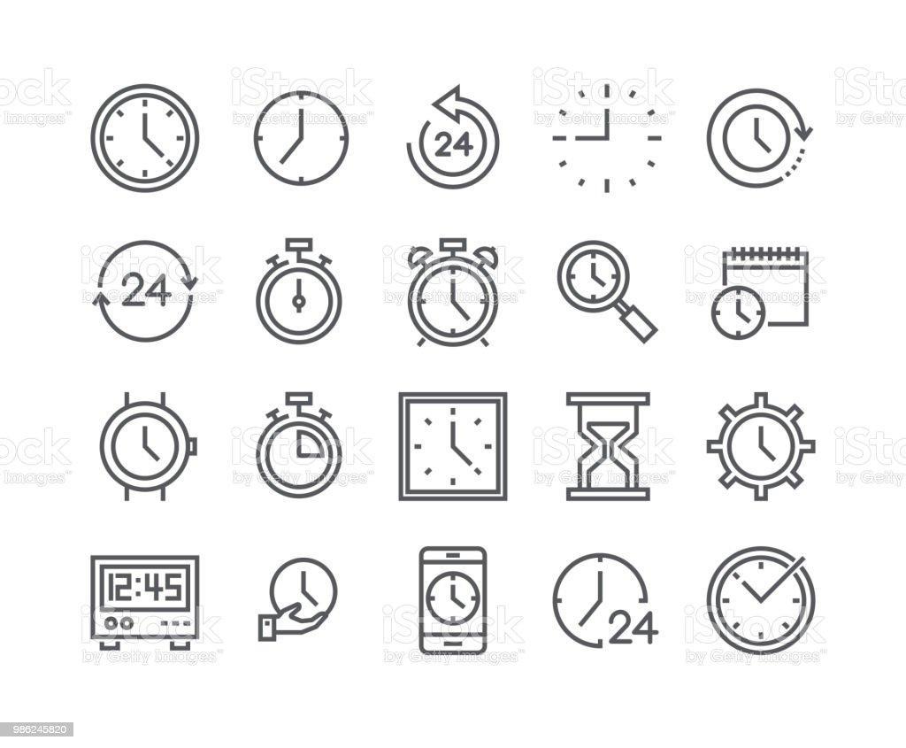 Modifiable de ligne simple AVC vector icon set, contient des icônes comme minuterie, vitesse, alarme, restauration, gestion du temps, calendrier, smartwatch, sablier et bien plus encore... 48 x 48 pixels parfait. - clipart vectoriel de Abstrait libre de droits