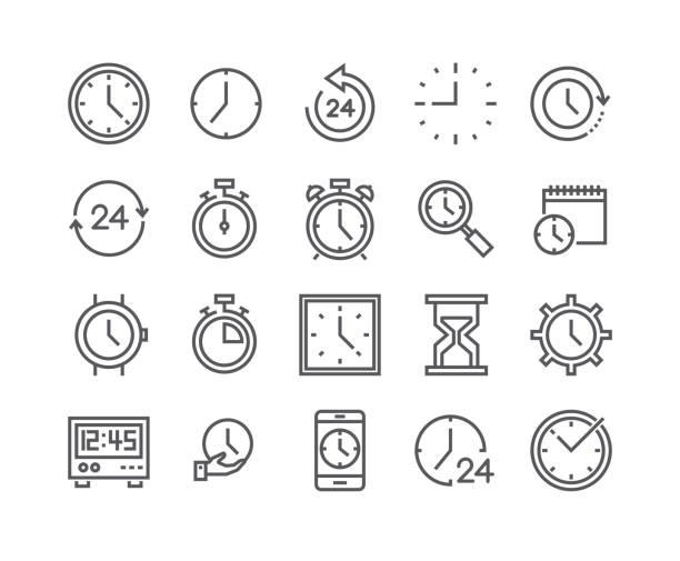 edytowalny prosty zestaw ikon wektora obrysu liniowego, zawiera takie ikony jak timer, prędkość, alarm, przywracanie, zarządzanie czasem, kalendarz, smartwatch, klepsydra i inne.. 48x48 pixel perfect. - czas stock illustrations