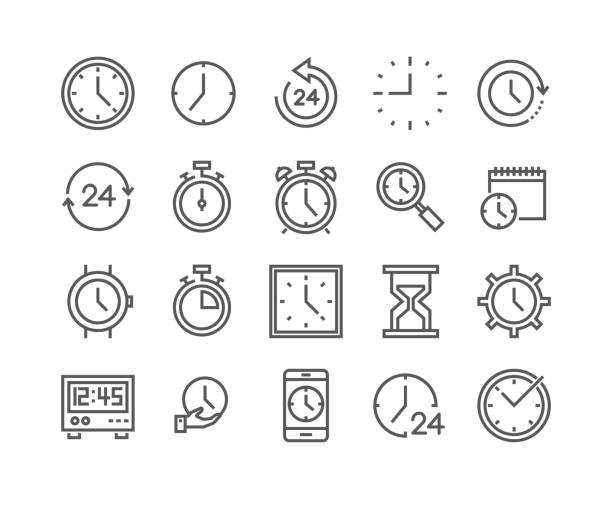 Editable simple line stroke vector icon set,Contains such Icons as Timer, Speed, Alarm, Restore, Time Management, Calendar, smartwatch, hourglass and more..48x48 Pixel Perfect. vector art illustration