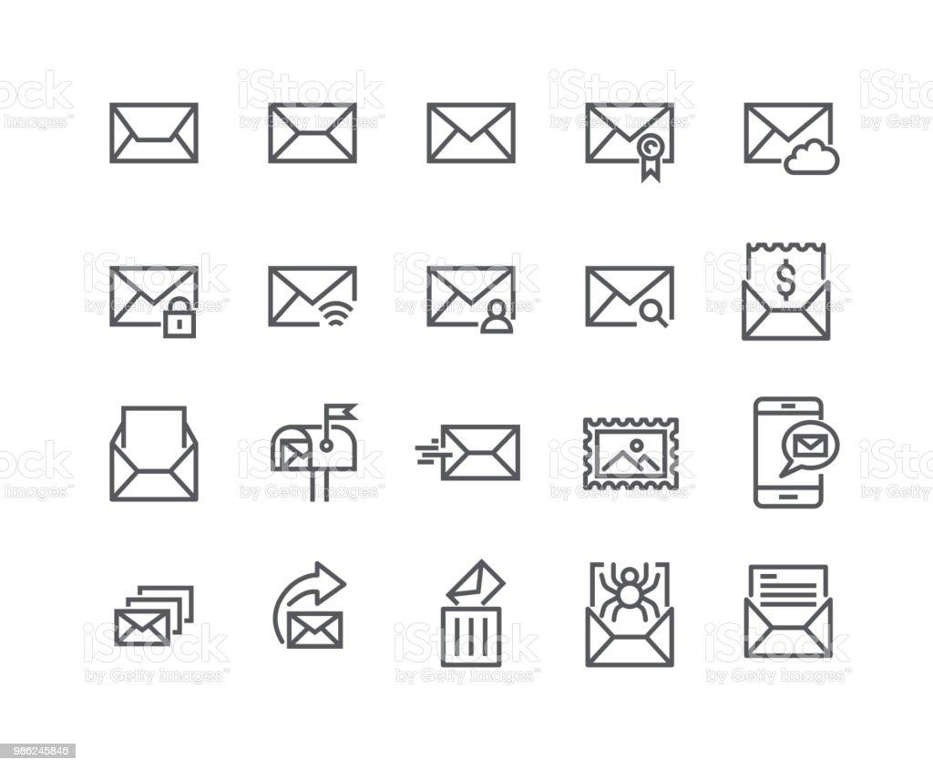 Modifiable de ligne simple course icon set vector, contient des icônes comme la Newsletter, Spam, privé, boite Mail, carnet d'adresses et plus encore... 48 x 48 pixels parfait. - Illustration vectorielle