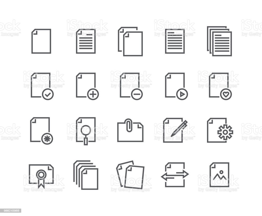 Modifiable de ligne simple course icon set vector, contient des icônes sous forme de documents, papier, partage de données, presse-papiers, fichiers de données multimédia et more.48x48 Pixel Perfect. - Illustration vectorielle