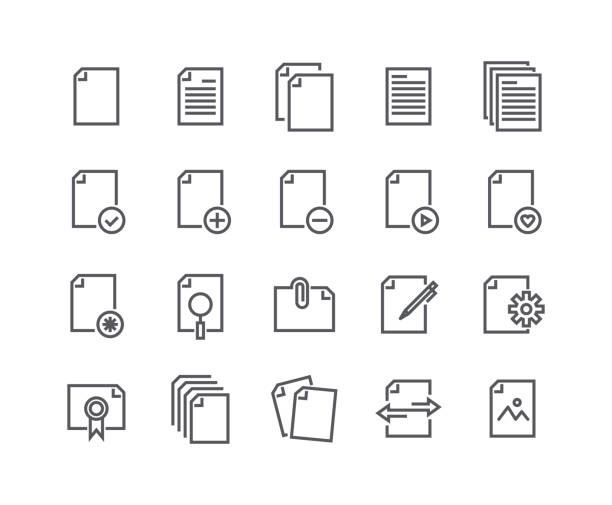 editable simple line stroke vector icon set,contains such icons as documents,paper,sharing data,clipboard,multimedia data files and more.48x48 pixel perfect. - thin line icons stock illustrations, clip art, cartoons, & icons