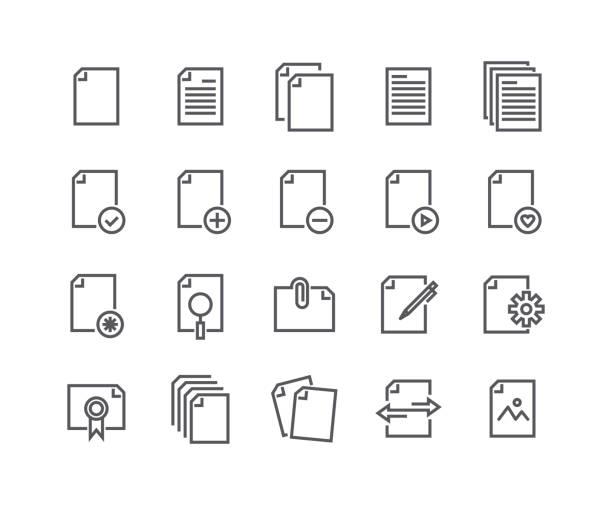 stockillustraties, clipart, cartoons en iconen met bewerkbare eenvoudige lijn lijn vector icon set, bevat deze pictogrammen als documenten, papier, delen van gegevens, klembord, multimedia gegevensbestanden en more.48x48 pixel perfect. - stroom activiteit