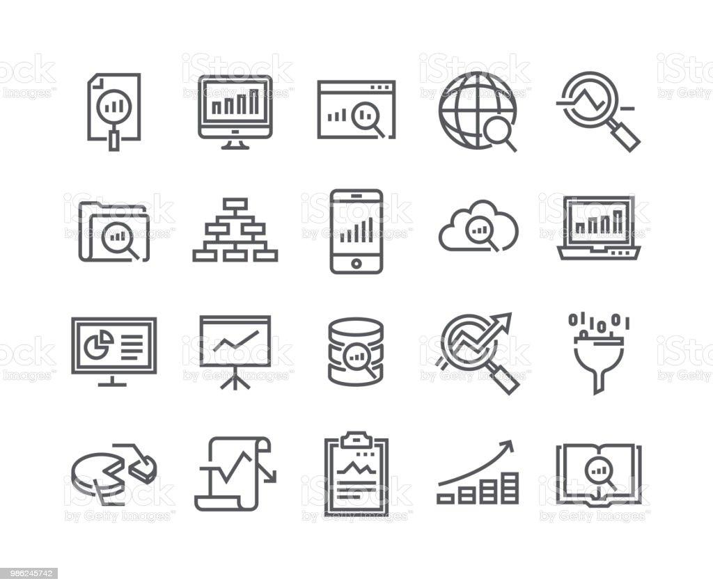 Línea simple editable movimiento conjunto de iconos de vector, análisis de datos relacionados con la colección de iconos, gráficos, análisis de tráfico, cloud computing, Big Data y más... 48 x 48 Pixel Perfect. - ilustración de arte vectorial