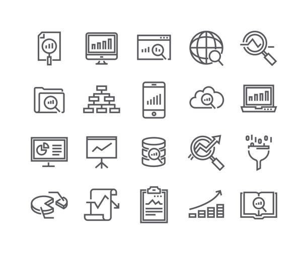 editable simple line stroke vector icon set,data analysis related icons collection, graphs, traffic analysis, cloud computing, big data and more..48x48 pixel perfect. - thin line icons stock illustrations, clip art, cartoons, & icons