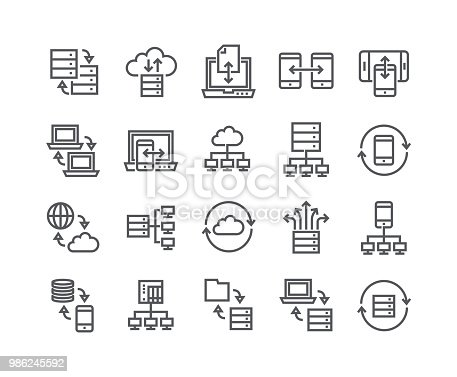 Editable simple line stroke vector icon set,Data service-related collections, data backup, data sharing, data connections, data relationships, and more.48x48 Pixel Perfect.