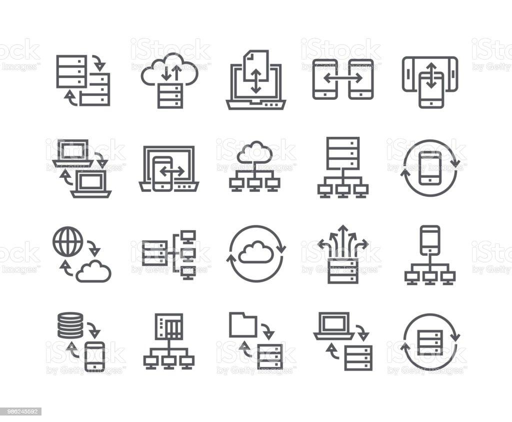 Course simple modifiables en ligne vecteur jeu d'icônes, données liées au service collections, sauvegarde des données, partage des données, des connexions de données, des relations de données et more.48x48 Pixel Perfect. - Illustration vectorielle