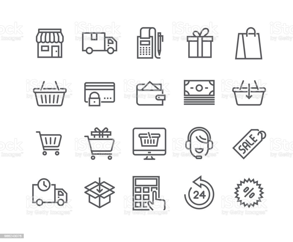 Jeu d'icônes de vecteur editable simple ligne AVC, boutique icône, sac Shopping, e-commerce, vente, support technique en ligne et bien plus encore. 48 x 48 pixels parfait. - Illustration vectorielle