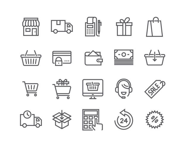 Editable simple line stroke vector icon set,e-commerce icon, Shopping Bag, Store, Sale, Online Support and more. 48x48 Pixel Perfect. Editable simple line stroke vector icon set,e-commerce icon, Shopping Bag, Store, Sale, Online Support and more. 48x48 Pixel Perfect. online shopping stock illustrations