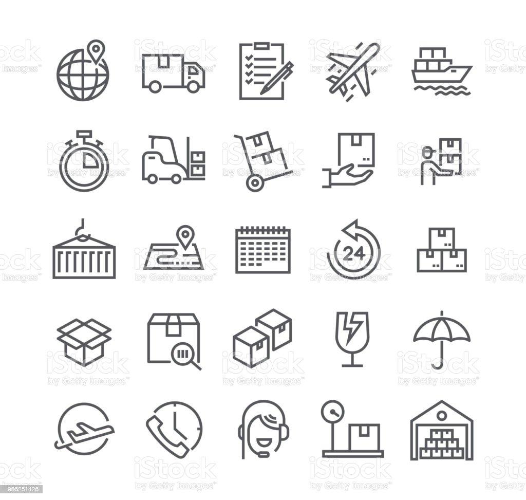 Icono de vector de movimiento editables línea simple conjunto, entrega Express, seguimiento, entrega vehículos, logística y más. 48 x 48 Pixel Perfect. - ilustración de arte vectorial