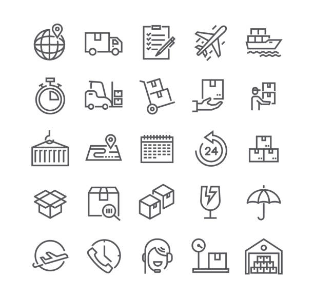 editable simple line stroke vector icon set,express delivery, tracking, delivery car, logistics and more. 48x48 pixel perfect. - warehouse stock illustrations