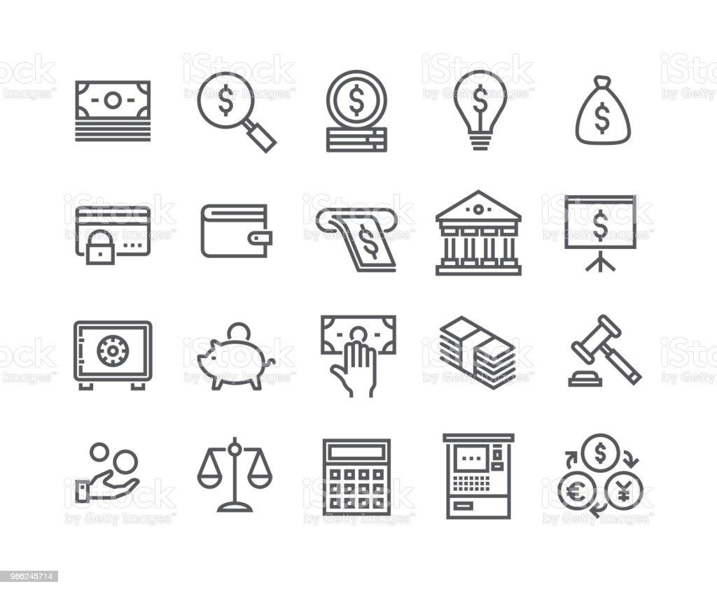 Modifiable de ligne simple course icon set vector, finances associés collection d'icônes, impôts, gestion de l'argent, bourse, services bancaires et more.48x48 Pixel Perfect. - Illustration vectorielle