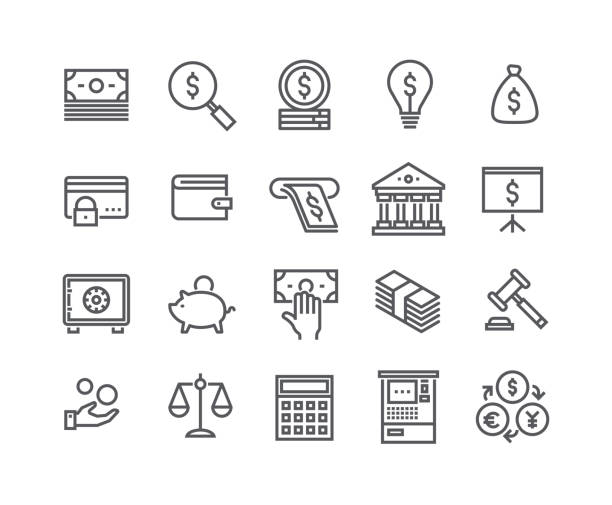Editable simple line stroke vector icon set,Finance related icon collection,Taxes, Money Management,Stock Exchange,Banking services and more.48x48 Pixel Perfect. Editable simple line stroke vector icon set,Finance related icon collection,Taxes, Money Management,Stock Exchange,Banking services and more.48x48 Pixel Perfect. banking silhouettes stock illustrations