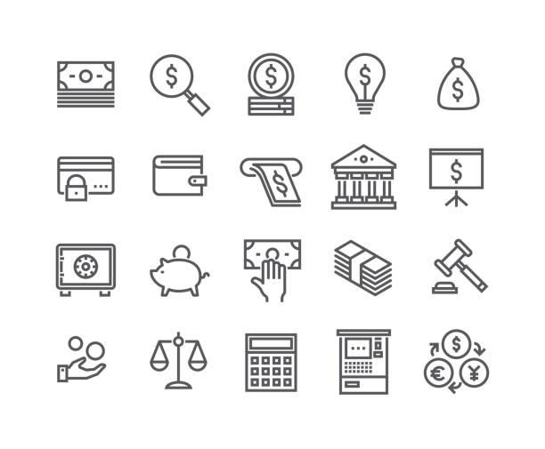 editierbare einfache linie schlaganfall vektor icon-set, im zusammenhang mit finanzen ikonensammlung, steuern, umgang mit geld, börse, bankdienstleistungen und more.48x48 perfekte pixel. - geldautomat stock-grafiken, -clipart, -cartoons und -symbole