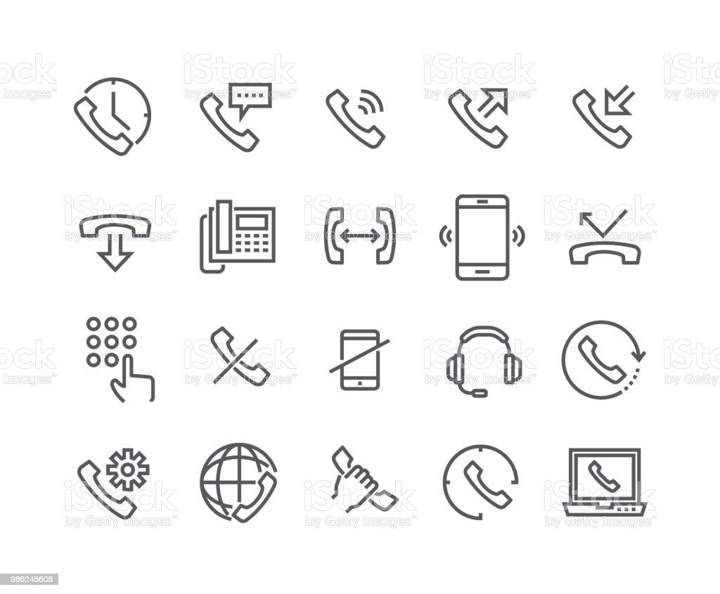 Ligne simple modifiable AVC icon set vector, appels internationaux, déconnecter, Support en ligne, Téléphone Mobile et more.48x48 Pixel Perfect. - Illustration vectorielle