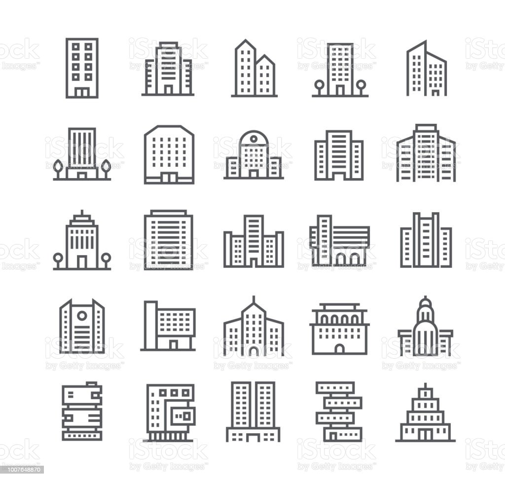 Editable simple line stroke vector icon set,government and commercial city buildings and institutions and more. 48x48 Pixel Perfect. royalty-free editable simple line stroke vector icon setgovernment and commercial city buildings and institutions and more 48x48 pixel perfect stock illustration - download image now