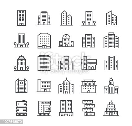 Editable simple line stroke vector icon set,government and commercial city buildings and institutions and more. 48x48 Pixel Perfect.