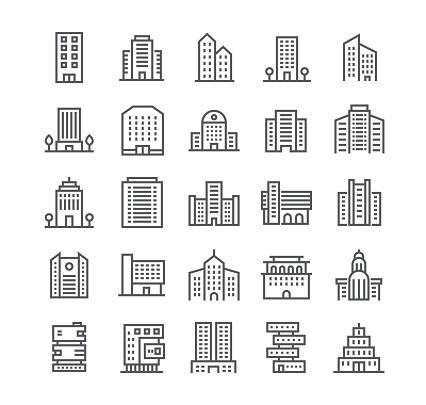 Editable simple line stroke vector icon set,government and commercial city buildings and institutions and more. 48x48 Pixel Perfect. clipart