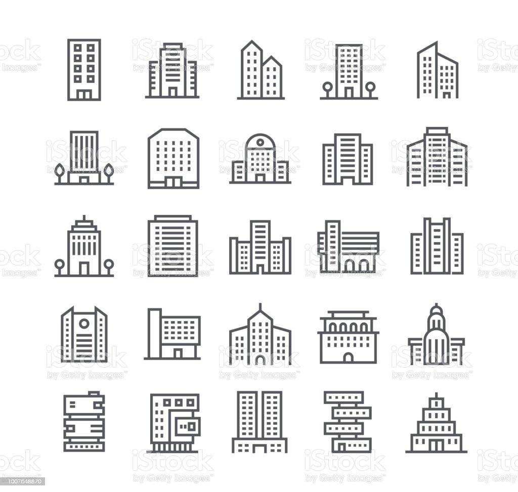 Jeu d'icônes de vecteur editable simple ligne AVC, gouvernement et les édifices commerciaux et les institutions et plus. 48 x 48 pixels parfait. - Illustration vectorielle