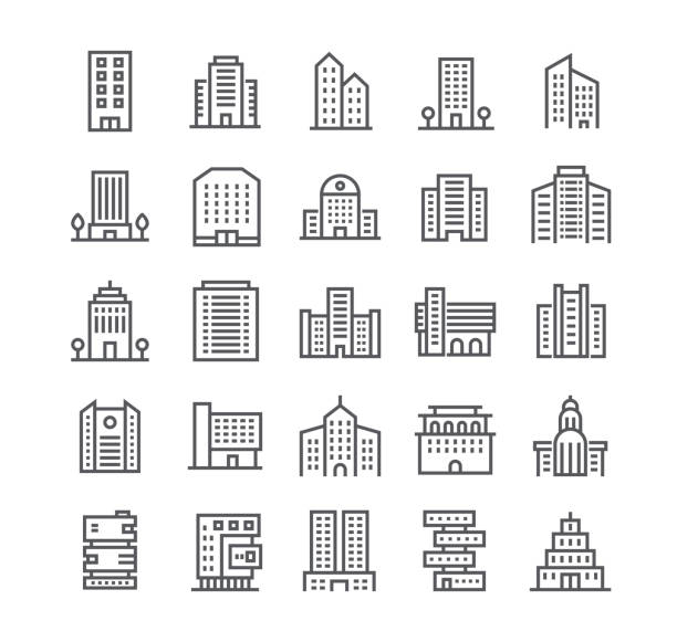 editable simple line stroke vector icon set,government and commercial city buildings and institutions and more. 48x48 pixel perfect. - building stock illustrations
