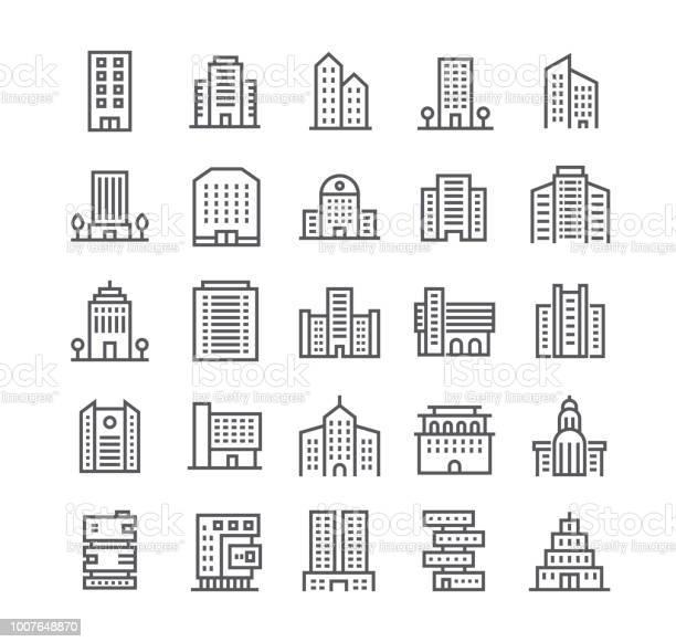 Vetores de Conjunto De Linha Simples Editável Curso Vetor Ícones Governo E Instituições E Edifícios Comerciais Da Cidade E Muito Mais 48 X 48 Pixel Perfeito e mais imagens de Apartamento