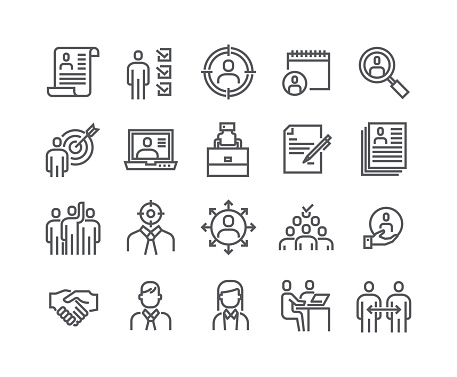 Editable simple line stroke vector icon set,Headhunting Related Icons. Business people, Communication and Team work and more.48x48 Pixel Perfect. clipart