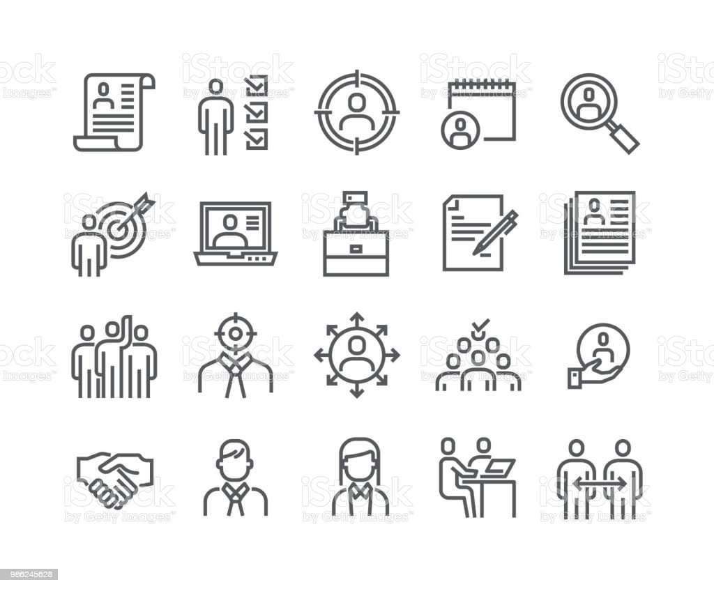 Línea simple editable movimiento vector conjunto de iconos, iconos relacionados con captación. Negocios, comunicación y trabajo en equipo y more.48x48 Pixel Perfect. - ilustración de arte vectorial