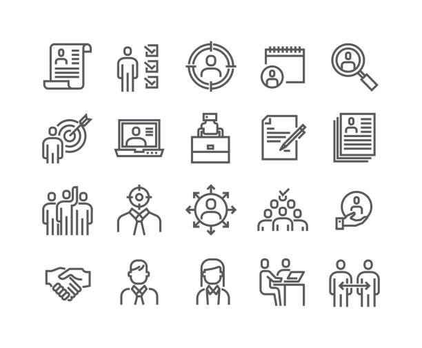 illustrazioni stock, clip art, cartoni animati e icone di tendenza di editable simple line stroke vector icon set,headhunting related icons. business people, communication and team work and more.48x48 pixel perfect. - business man