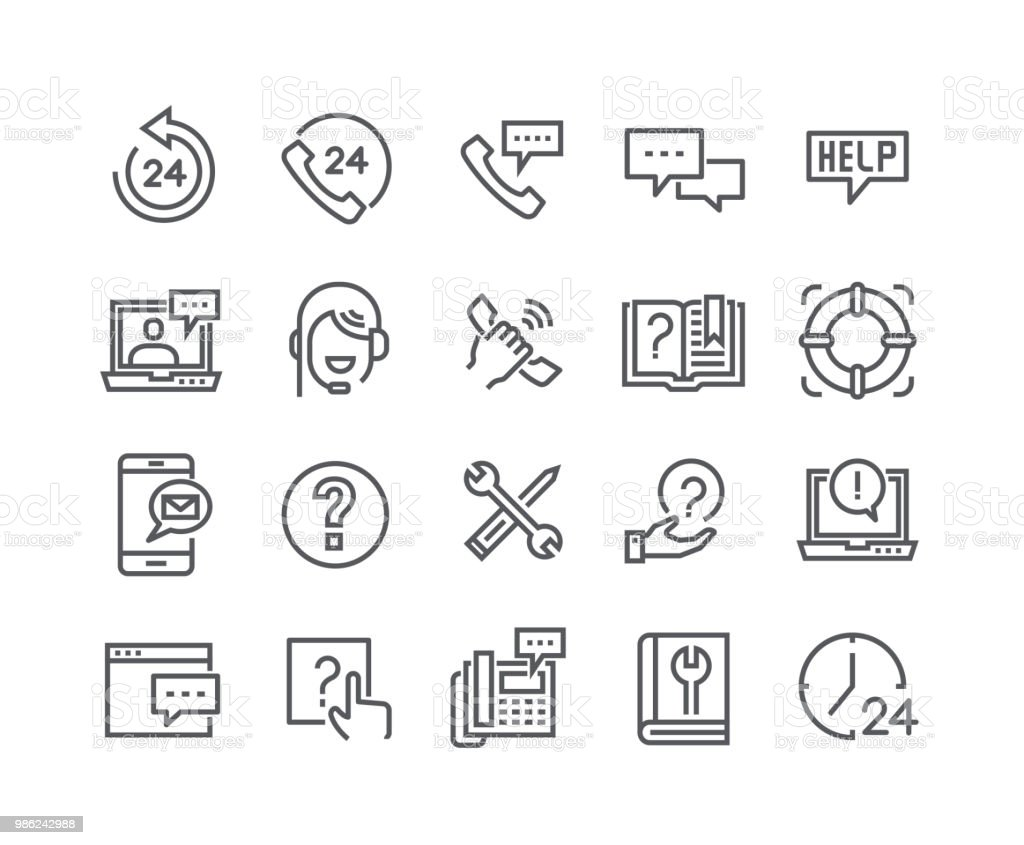 Conjunto de icono de vector de movimiento editables de línea simple, Help Desk, soporte, retroalimentación, servicio técnico y más. 48 x 48 Pixel Perfect. - ilustración de arte vectorial