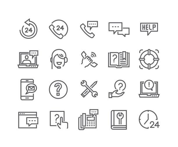 illustrazioni stock, clip art, cartoni animati e icone di tendenza di editable simple line stroke vector icon set,help desk, support, feedback, technical service and more. 48x48 pixel perfect. - guida turistica professione