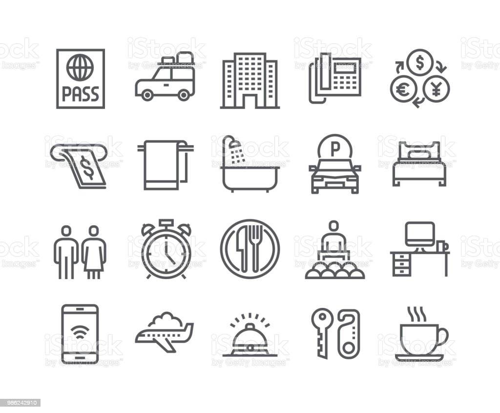 Editable simple line stroke vector icon set,Hotel Building, Hotel Service, Bathroom tour car and more. .48x48 Pixel Perfect.