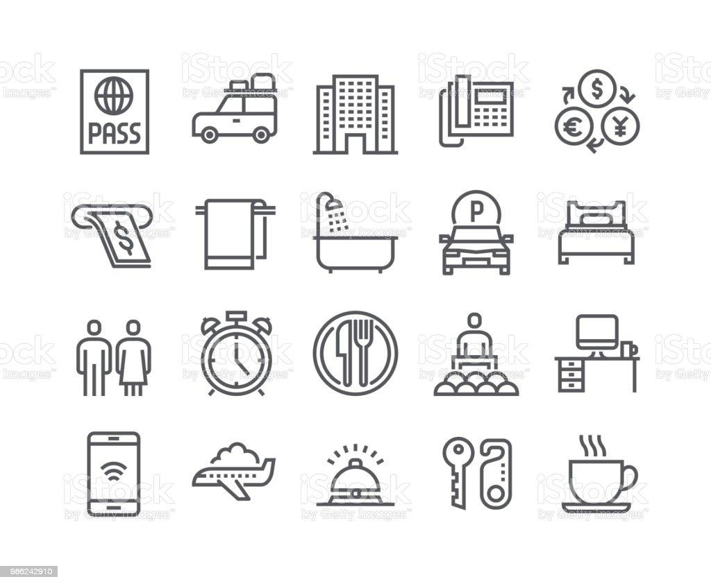 Conjunto de icono de vector de movimiento editables de línea simple, el edificio del Hotel, servicio de Hotel, coche de viaje de cuarto de baño y más. .48x48 pixel Perfect. - ilustración de arte vectorial