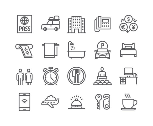 Editable simple line stroke vector icon set,Hotel Building, Hotel Service, Bathroom tour car and more. .48x48 Pixel Perfect. Editable simple line stroke vector icon set,Hotel Building, Hotel Service, Bathroom tour car and more. .48x48 Pixel Perfect. hotel stock illustrations
