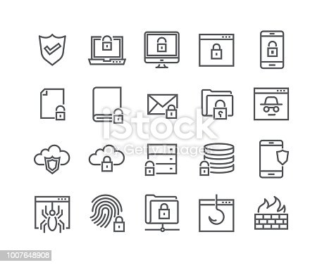Editable simple line stroke vector icon set,Internet security, Database Protection, Spy, Spam, Fishing and more. 48x48 Pixel Perfect.