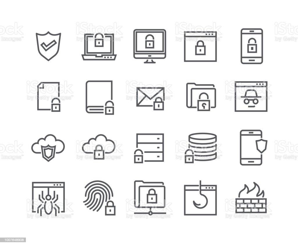 Editierbare einfache Linie Schlaganfall Vektor Icon gesetzt, Internetsicherheit, Datenbankschutz, Spy, Spam, Angeln und vieles mehr. 48 x 48 Pixel perfekt. – Vektorgrafik