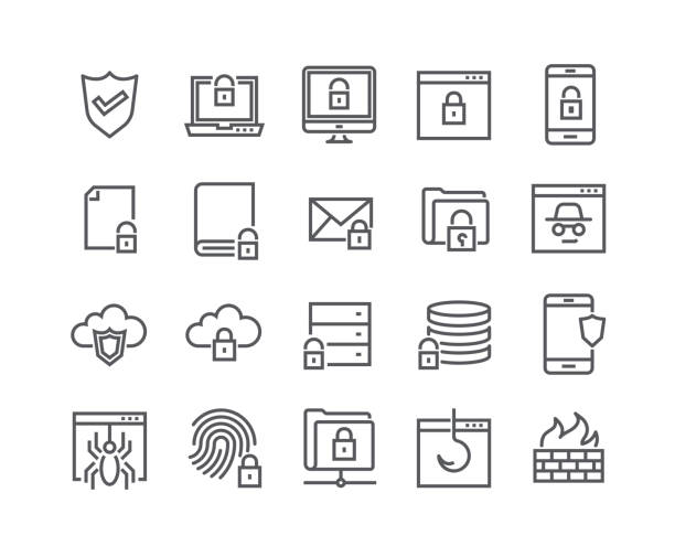 Editable simple line stroke vector icon set,Internet security, Database Protection, Spy, Spam, Fishing and more. 48x48 Pixel Perfect. Editable simple line stroke vector icon set,Internet security, Database Protection, Spy, Spam, Fishing and more. 48x48 Pixel Perfect. cybersecurity stock illustrations