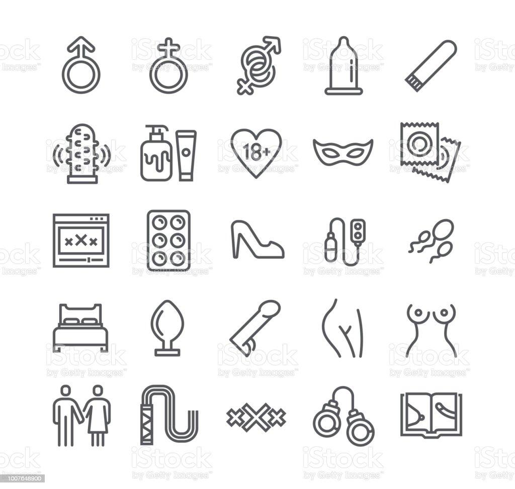 Ligne simple modifiable AVC icon set vector, Intim ou Sex-Shop, érotisme amour Couple, la pornographie et plus encore. 48 x 48 pixels parfait. - Illustration vectorielle
