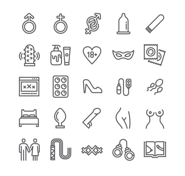 editable simple line stroke vector icon set,intim or sex shop, eroticism love couple, pornography and more. 48x48 pixel perfect. - zmysłowość stock illustrations