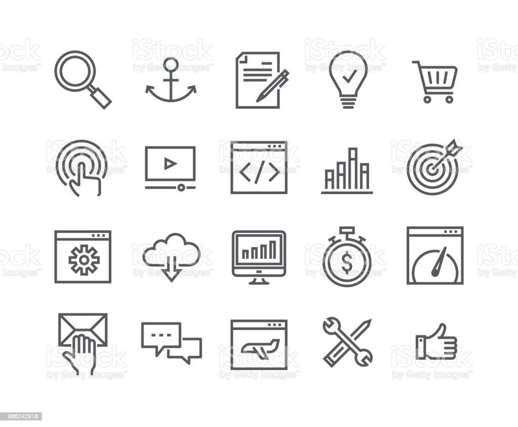 Ligne simple modifiable AVC icon set vector, Search Engine Optimization icône, SEO, codage, vitesse de la page Web, Support et plus. 48 x 48 pixels parfait. - Illustration vectorielle
