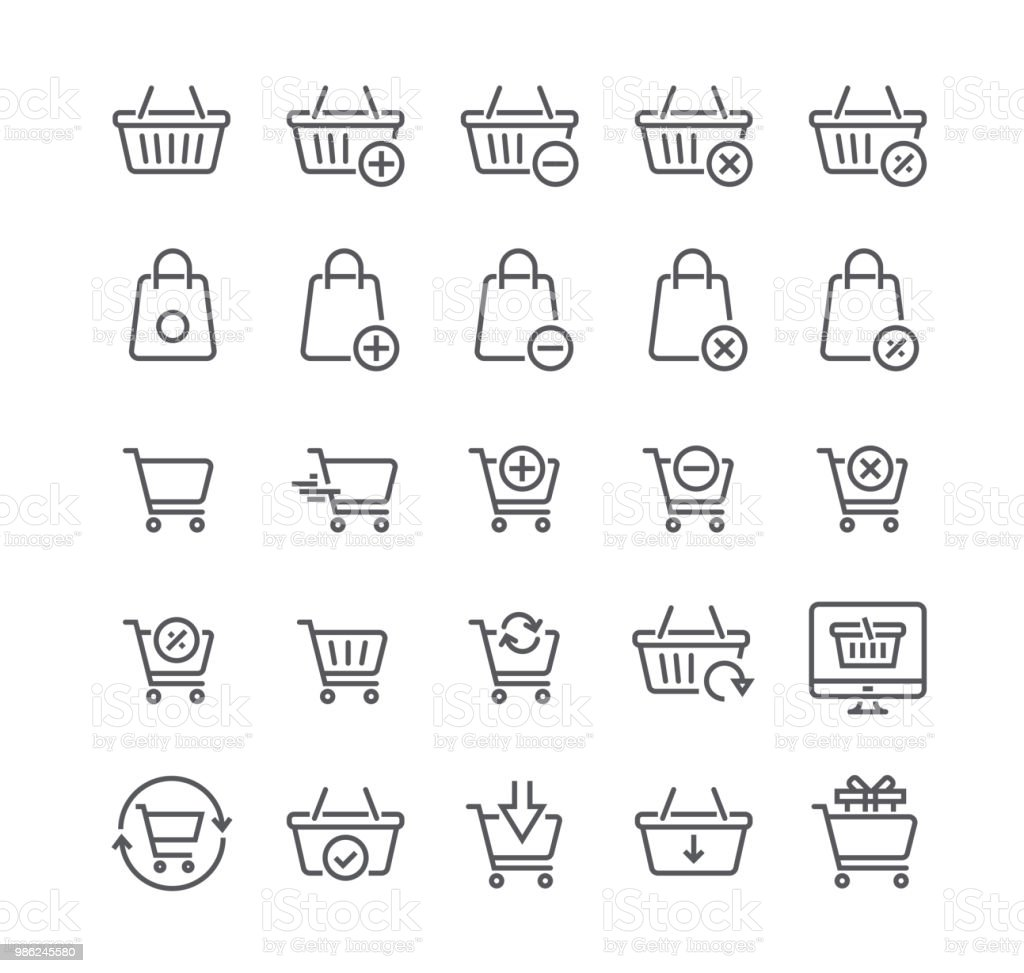 Ligne simple modifiable AVC vecteur icône setShopping Cart connexes vecteur ligne icônes. Contient des icônes comme Express Checkout, m-commerce, ajouter, supprimer, actualiser et more.48x48 Pixel Perfect. - Illustration vectorielle
